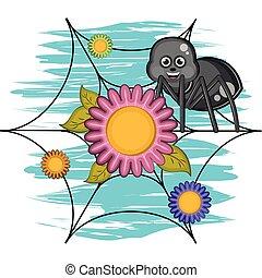 Cartoon of a cute happy spider