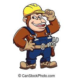 Cartoon of a Gorilla Handyman .