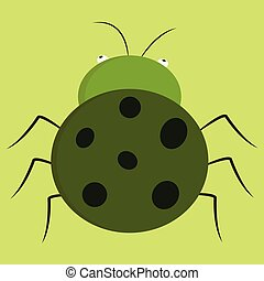 Cartoon of a green bug with black dots  vector illustration on white background