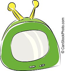 Cartoon of a green portable tv with yellow antennas vector illustration on white background