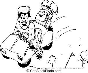 Cartoon of a happy golfer in a Speeding golf cart.