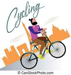 Cartoon of a man riding bicycle