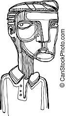 Cartoon of a man with skeptic expression