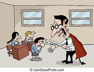 Cartoon of a monster teacher in sch - Conceptual cartoon of...