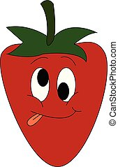 Cartoon of a silly face strawberry with green leaves and tongue hanging out vector or color illustration
