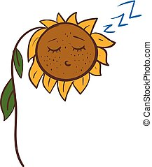 Cartoon of a sleeping sunflower vector illustration on white background