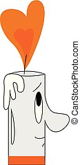 Cartoon of a smiling white candle vector illustration on white background