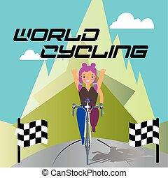 Cartoon of a woman riding bicycle