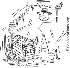 Cartoon of Adventurer Man Who Found a Treasure in Cave -...