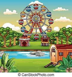 Cartoon of amusement park with nature landscape