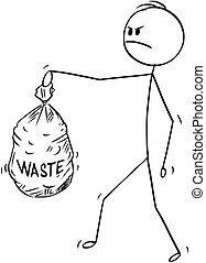 Cartoon of Angry Man Carrying Plastic Waste Bag