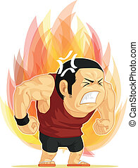 Cartoon of Angry Man - A vector image of a man blazing with...
