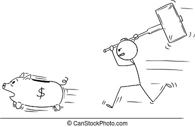 Cartoon of Angry Man or Businessman Chasing Running Piggy Bank With Big Hammer
