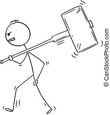 Cartoon of Angry Man or Businessman Walking With Big Hammer