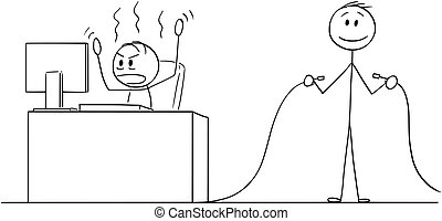 Cartoon stick figure drawing conceptual illustration of angry man or businessman working in office on computer, another man is holding unplugged Internet network or electric power cable.