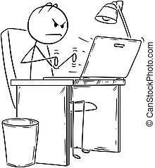 Cartoon of Angry Man or Businessman Working or Typing on ...