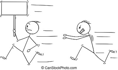Cartoon of Angry Violent Man Chasing Another Man Holding...