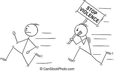 Cartoon of Angry Violent Man Holding Stop Violence Sign...