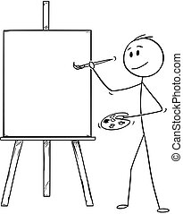 Cartoon of Artist With Brush and Palette Ready to Paint on the Canvas on Easel
