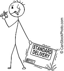 Cartoon of Bad Delivery Man or Businessman Negligently Pulling Carton Box