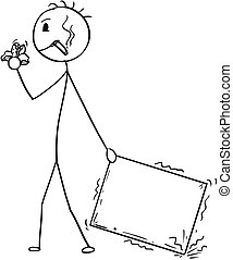 Cartoon of Bad Delivery Man or Businessman Negligently Pulling Carton Box, Usable as Empty Sign