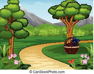 Cartoon of beautiful garden background with dirt road