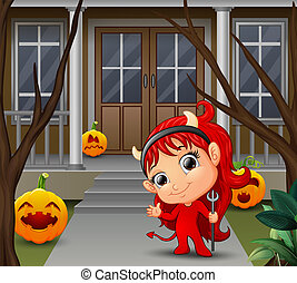 Cartoon of beautiful red haired little devil