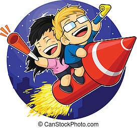 Cartoon of Boy & Girl Riding New Ye