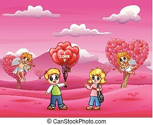 Cartoon of boys holding lots of balloons for girls with cupids