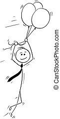 Cartoon of Business Man Flying on Air Balloons