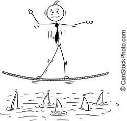 Cartoon of Business Man Walking on Tightrope Rope