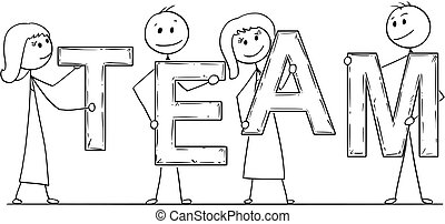 Cartoon of Business People Holding Word Team