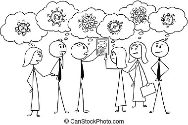Cartoon of Business Team Working Together to Find Problem Solution