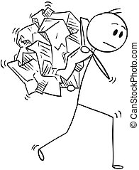 Cartoon of Businessman Carrying Big Crumpled Paper Ball on His Back