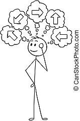 Cartoon of Businessman Choosing Right Direction