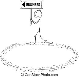 Cartoon of Businessman Holding Business Sign and Walking in...