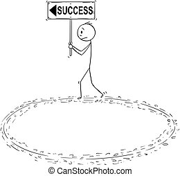 Cartoon of Businessman Holding Success Sign and Walking in...