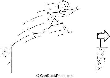 Cartoon of Businessman Jumping Over the Chasm, Overcoming ...