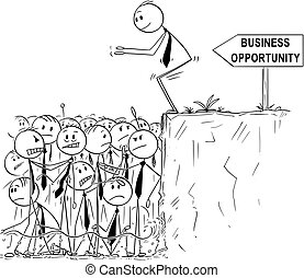 Cartoon of Businessman Looking for Business Opportunity is Ready to Jump in Shallow Water of Saturated or Oversaturated Market