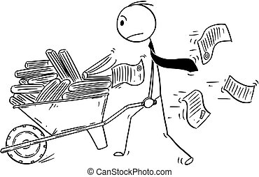 Cartoon of Businessman or Clerk Pushing Wheelbarrow Full of Office Documents