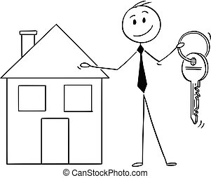 Cartoon of Businessman or Estate Agent Offer a Key and House...