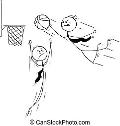 Cartoon of Businessman Playing Basketball and Jumping to Score
