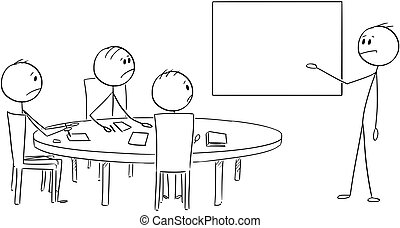 Cartoon of Businessman Presenting Empty Table on Business or...