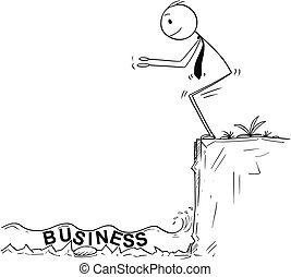 Cartoon of Businessman Ready to Jump in Unknown Shallow...