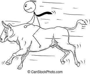 Cartoon of Businessman Riding a Bull Market