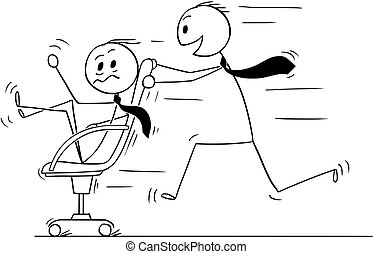 Cartoon of Businessman Riding on Chair Enjoying Fun in Office