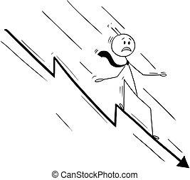 Cartoon of Businessman Riding on Falling or Declining Chart Arrow