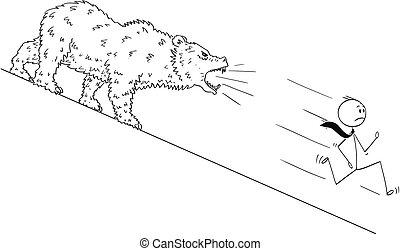 Cartoon of Businessman Running Down the Hill From Bear