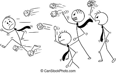 Cartoon of Businessman Running from Group of Angry Business People Throwing Paper Balls