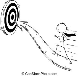 Cartoon of Businessman Running On Arrow for Success